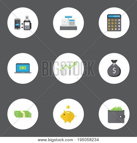 Flat Icons Finance Sack, Till, Cash Stack And Other Vector Elements. Set Of Banking Flat Icons Symbols Also Includes Bar, Billfold, Wallet Objects.