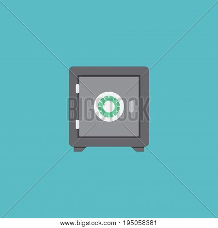 Flat Icon Safe Element. Vector Illustration Of Flat Icon Strongbox Isolated On Clean Background. Can Be Used As Safe, Strongbox And Secure Symbols.