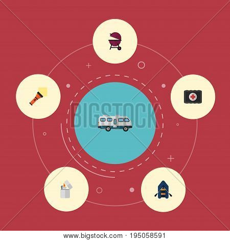 Flat Icons Lighter, Cigarette, Barbecue And Other Vector Elements. Set Of Encampment Flat Icons Symbols Also Includes Lighter, Pocket, Appetizer Objects.