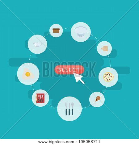 Flat Icons Cooking Notebook, Silverware, Fried Poultry And Other Vector Elements. Set Of Cooking Flat Icons Symbols Also Includes Recipe, Omelette, Cooking Objects.