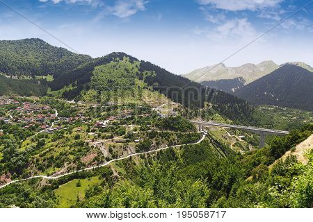 Aerial view of Metsovo tourist resort and  mountains at a summer sunny day, Epirus, Greece