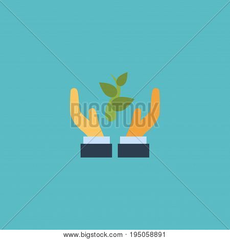 Flat Icon Support Element. Vector Illustration Of Flat Icon Help  Isolated On Clean Background. Can Be Used As Hand, Support And Plant Symbols.