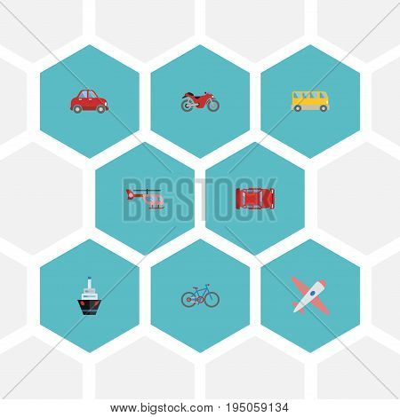 Flat Icons Motorbike, Boat, Omnibus And Other Vector Elements. Set Of Transport Flat Icons Symbols Also Includes Car, Chopper, Vehicle Objects.