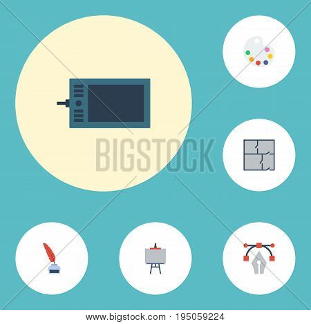 Flat Icons Gadget, Artist, Scheme And Other Vector Elements. Set Of Creative Flat Icons Symbols Also Includes Graphic, Tablet, Scheme Objects.