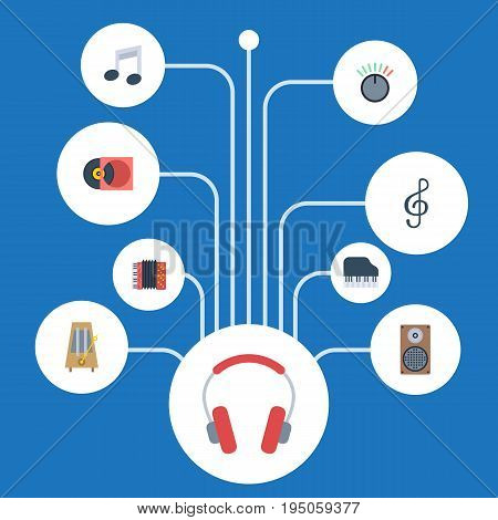 Flat Icons Tone Symbol, Earphone, Retro Disc And Other Vector Elements. Set Of Studio Flat Icons Symbols Also Includes Motion, Symbol, Metronome Objects.