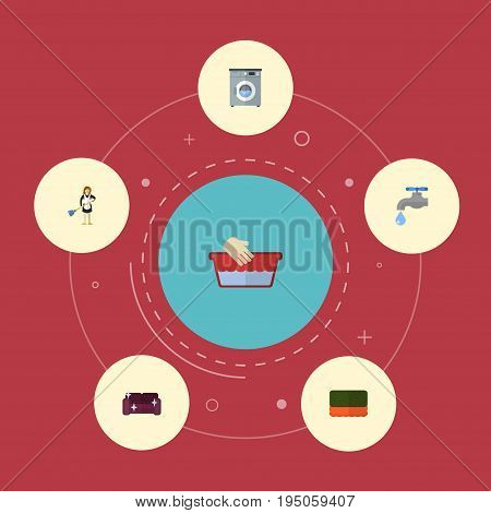 Flat Icons Clothes Washing, Laundromat, Housewife And Other Vector Elements. Set Of Cleaning Flat Icons Symbols Also Includes Housemaid, Washing, Hand Objects.