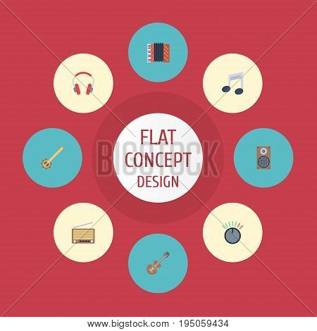 Flat Icons Harmonica, Acoustic, Banjo And Other Vector Elements. Set Of Music Flat Icons Symbols Also Includes Volume, Harmonica, Musical Objects.