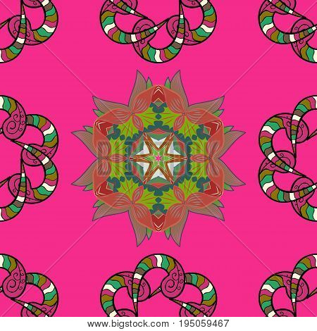 Seamless pattern with flowers on motley background. Vector illustration of colorfil flowers.