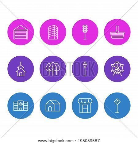 Vector Illustration Of 12 Public Icons. Editable Pack Of Lamppost, Semaphore, Ferris Wheel And Other Elements.