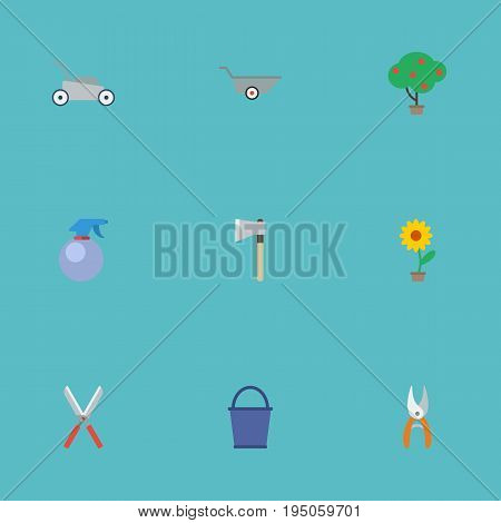 Flat Icons Spray Bottle, Wheelbarrow, Lawn Mower And Other Vector Elements. Set Of Agriculture Flat Icons Symbols Also Includes Plant, Secateurs, Berries Objects.