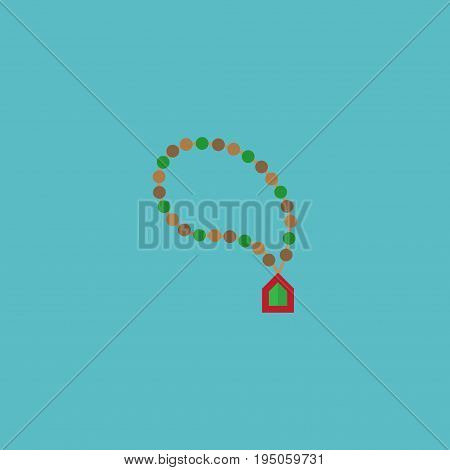 Flat Icon Rosary Islam Element. Vector Illustration Of Flat Icon Bead Isolated On Clean Background. Can Be Used As Rosary, Islam And Bead Symbols.