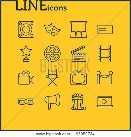 Vector Illustration Of 16 Cinema Icons. Editable Pack Of Camera, Movie Reel, Loudspeaker And Other Elements.