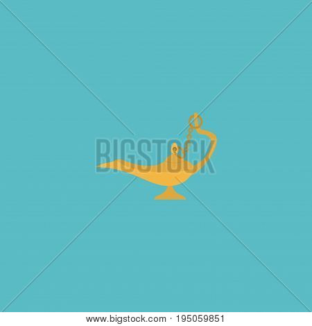 Flat Icon Oil Lamp Element. Vector Illustration Of Flat Icon Genie Isolated On Clean Background. Can Be Used As Oil, Lamp And Genie Symbols.