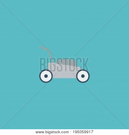 Flat Icon Grass-Cutter Element. Vector Illustration Of Flat Icon Lawn Mower Isolated On Clean Background. Can Be Used As Lawnmower, Grass And Cutter Symbols.