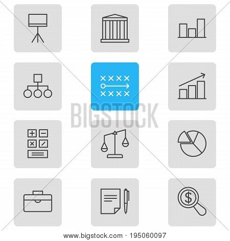 Vector Illustration Of 12 Management Icons. Editable Pack Of Board Stand, Magnifier, Portfolio Elements.