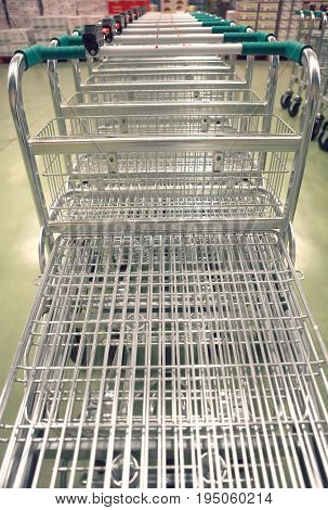 Closeup of empty shopping carts in a row