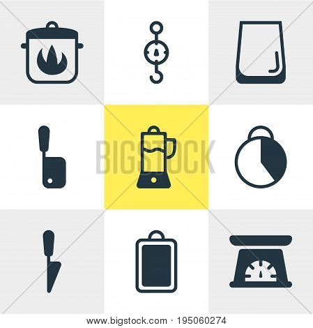 Vector Illustration Of 9 Kitchenware Icons. Editable Pack Of Fruit Squeezer, Steelyard, Butcher Knife And Other Elements.