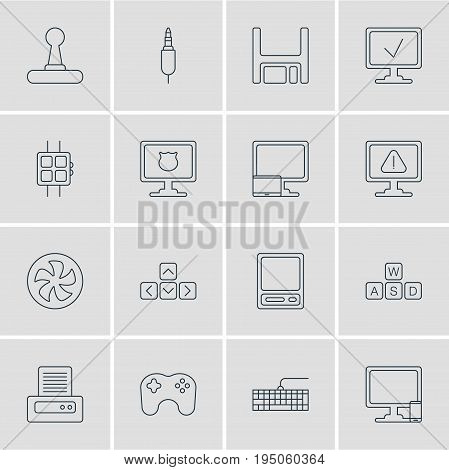 Vector Illustration Of 16 Computer Icons. Editable Pack Of Game Controller, Phone Near Computer, Printer And Other Elements.
