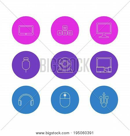 Vector Illustration Of 9 Laptop Icons. Editable Pack Of Screen, Serial Bus, Tablet And Other Elements.
