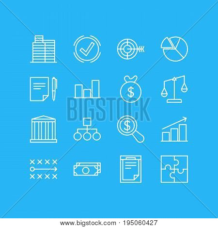 Vector Illustration Of 16 Trade Icons. Editable Pack Of Building, File, Bag And Other Elements.