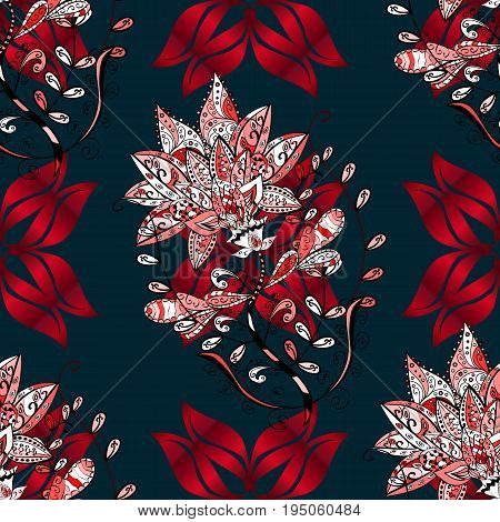 Vector sketch of many abstract flowers in blue colors. Hand drawn seamless flower illustration. Seamless pattern abstract floral background.