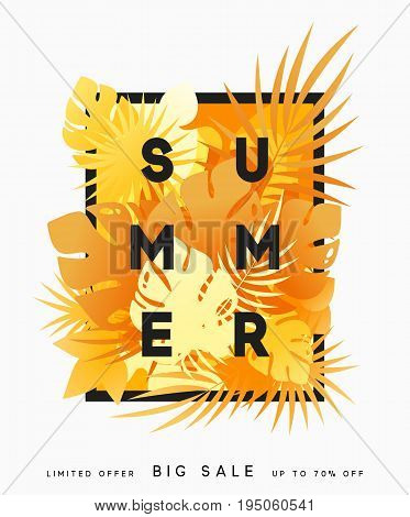 Hello Summer banner tropical background. Summer season, design poster with bright yellow leaves