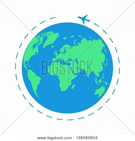Flying plane around the world. The path plane airplane route. Planet Earth icon. Vector