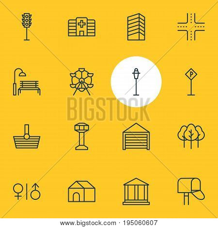 Vector Illustration Of 16 City Icons. Editable Pack Of Bench, Basket, Skyscraper And Other Elements.