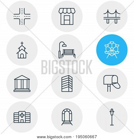 Vector Illustration Of 12 Public Icons. Editable Pack Of Skyscraper, Courthouse, Subway And Other Elements.