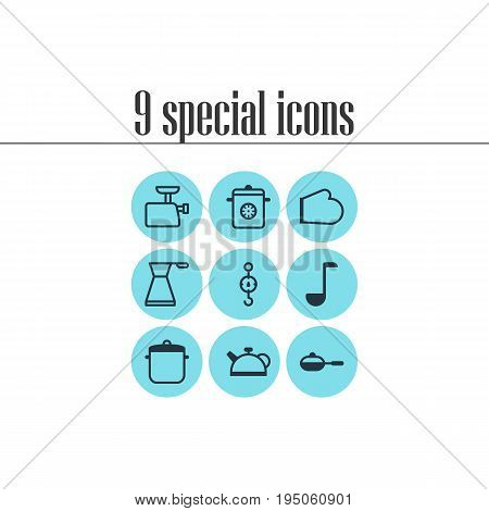 Vector Illustration Of 9 Restaurant Icons. Editable Pack Of Teakettle, Pan, Steamer And Other Elements.
