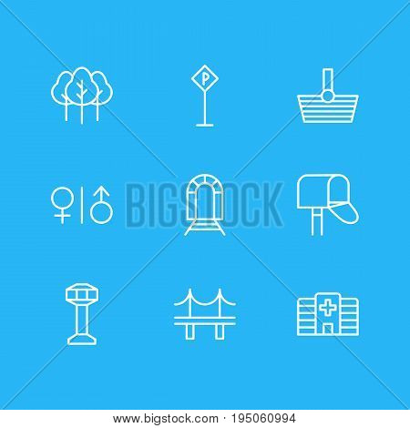 Vector Illustration Of 9 Infrastructure Icons. Editable Pack Of Basket, Toilet, Subway And Other Elements. poster