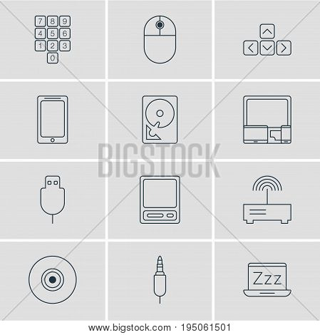 Vector Illustration Of 12 Computer Icons. Editable Pack Of Laptop, Hard Drive Disk, Router And Other Elements.