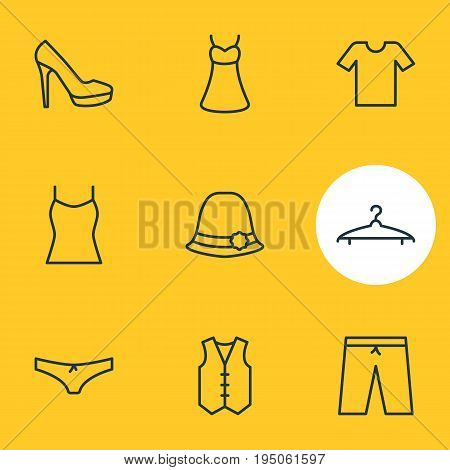 Vector Illustration Of 9 Clothes Icons. Editable Pack Of Panties, Swimming Trunks, Sandal Elements.