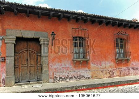 Colorful houses in Antigua, Guatemala, Central America. The historic city Antigua is UNESCO World Heritage.