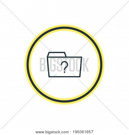 Vector Illustration Of Missed Outline. Beautiful Folder Element Also Can Be Used As Question  Element.