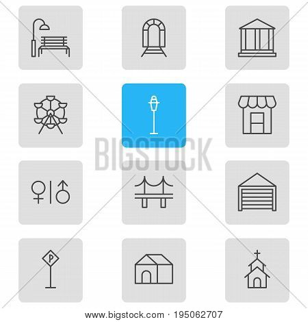 Vector Illustration Of 12 City Icons. Editable Pack Of Ferris Wheel, Building, Subway And Other Elements.