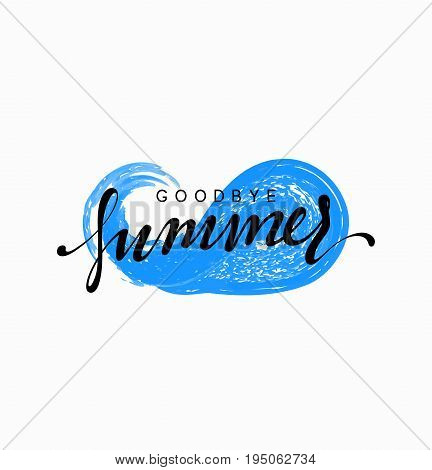 Goodbye summer, design blue water, sea wave with text.