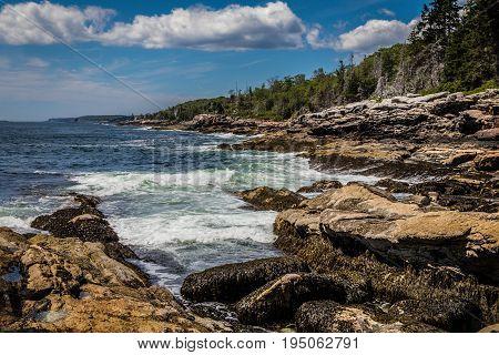 Scenic rocky shoreline in La Verna Preserve in Bristol, Maine