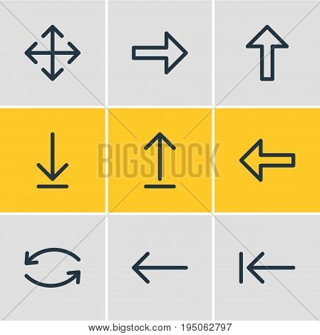 Vector Illustration Of 9 Sign Icons. Editable Pack Of Direction, Widen, Right And Other Elements.