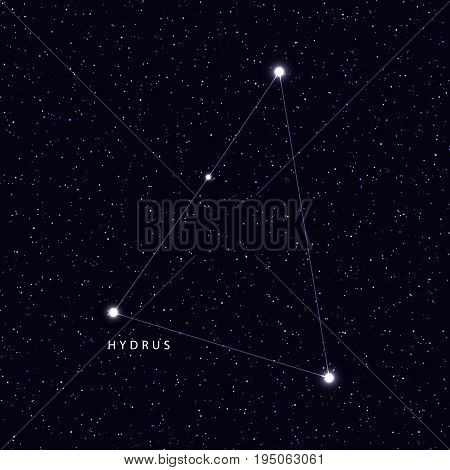 Sky Map with the name of the stars and constellations. Astronomical symbol constellation Hydrus