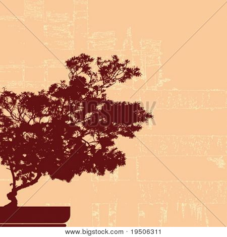 Background. Beautiful bonsai on the abstract background VECTOR (See Jpeg Also In My Portfolio)