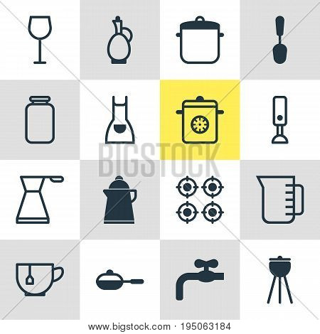 Vector Illustration Of 16 Kitchenware Icons. Editable Pack Of Carafe, Kettle, Pan And Other Elements.