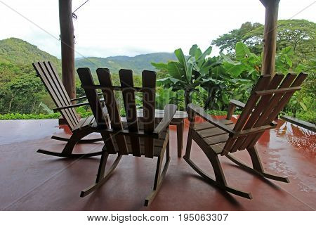 Three chairs on terrace and nice view over the mountain in Nicaragua, Central America