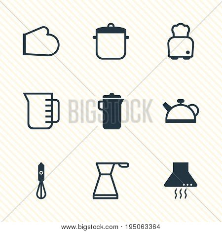 Vector Illustration Of 9 Kitchenware Icons. Editable Pack Of Kettle, Handmixer, Extractor Appliance Elements.