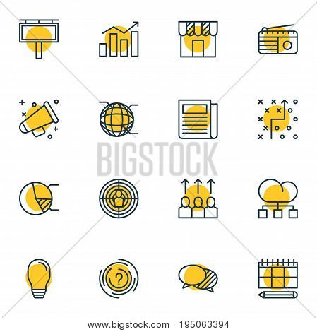 Vector Illustration Of 16 Marketing Icons. Editable Pack Of Cloud Distribution, Fm Broadcasting, Aiming And Other Elements.