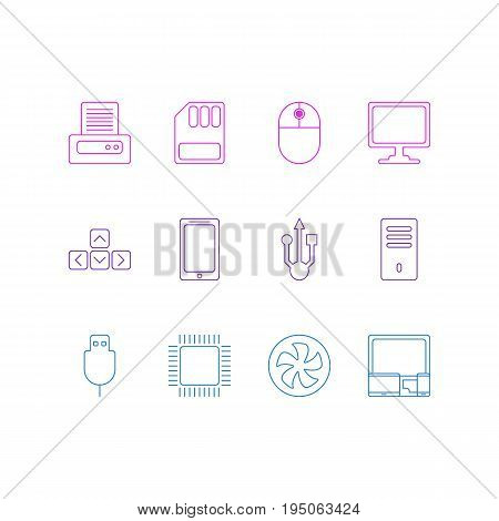 Vector Illustration Of 12 Notebook Icons. Editable Pack Of Storage, Usb Icon, Mainframe And Other Elements.