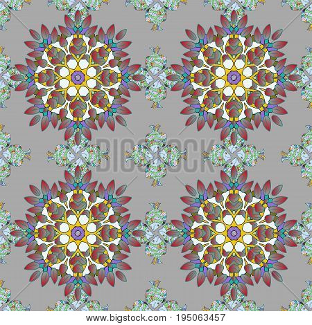 Decorative Indian Round Mandala on colorful background. Invitation Card Scrapbooking. Christmas Card Mandala Design. Vintage pattern. Islam Arabic Indian Turkish Pakistan. Colored over.