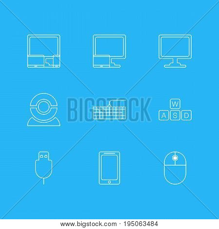 Vector Illustration Of 9 Computer Icons. Editable Pack Of Screen, Keyboard, Tablet With PC And Other Elements.