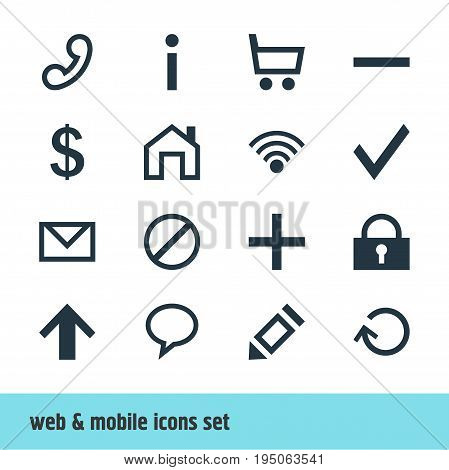 Vector Illustration Of 16 Member Icons. Editable Pack Of Pen, Letter, Padlock And Other Elements.