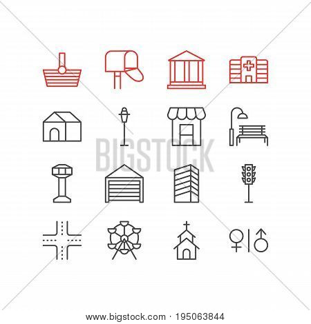 Vector Illustration Of 16 Infrastructure Icons. Editable Pack Of Intersection, Toilet, Mail Box And Other Elements.